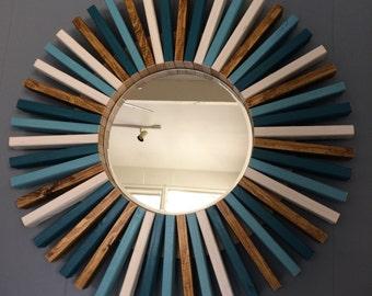 "Round Wall Mirror 26"" Wood Frame"