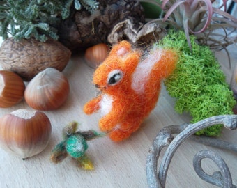 Needle felted red squirrel easter decor felt animal  dollhouse miniature wool squirrel tiny  collactible fiber art sculpture unique gift