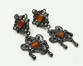 Black Amber Chandelier Clip On Earrings, Vintage Chandelier Earrings, Black Amber Clip on Earrings