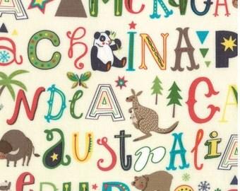 Roam - Cream - HELLO WORLD  - by Abi Hall for Moda Fabrics  - Childrens - Multi - Countries - Animals - 35302 11