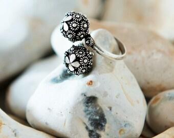 Sterling Silver Adjustable Ring, Flower Ring, Ball Ring, Boho Ring, Bohemian Ring, Gift For Her, Boho Gift Wife, Boho Gift Girlfriend, 925