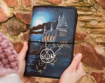 Hogwarts Castle - Harry Potter Gift - Hogwarts Express - Harry Potter Journal - Deathly Hallows - Gryffindor - Harry Potter Art - Midori TN