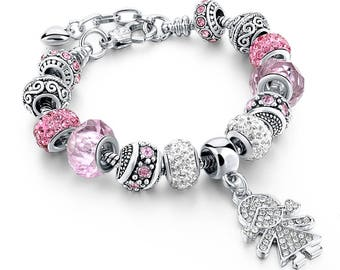 Authentic, Affordable Pandora Style Unique Charm Bracelet 'My Little Girl' Murano Pink & Silver Charm Bracelet with Hanging Charm