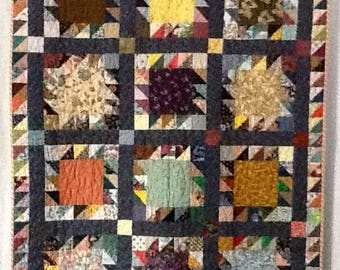 Quilt pattern is a sawtooth version.  The blocks are set in a checkerboard to stagger light and dark.  It is  a good throw size at 40x52.