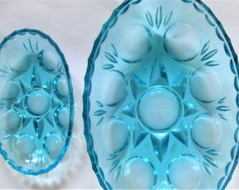 Vintage Blue Glass Bowls. Mid Century Bright Blue Glass Bowls. Set of 2 Turquoise Blue Snack Dishes. 1950s Blue Glass Bowls.