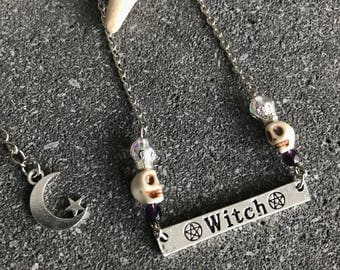Necklace witch wicca and skulls
