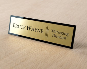 Executive Personalised Desk Name Plate, Custom Engraved Sign, Plaque, Office .