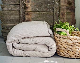 Linen duvet cover. Full size. Natural, washed, softened linen bedding in natural light grey color.