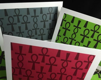Box of Life Blank Greeting Cards-Ankh Design (assorted set of 6)
