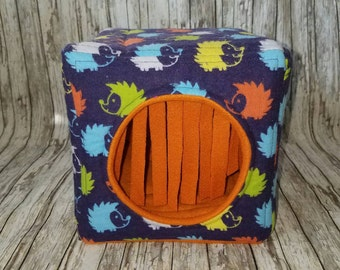 Cozy Cuddle Cube / Cozy Cube /  Cube Hide / Cube House / small animal bed - Hedgehog March on Navy Flannel