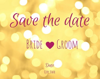Gold Wedding Save the Date Magnet - Save the date for wedding - Save the date chap - Magnetic save the date.