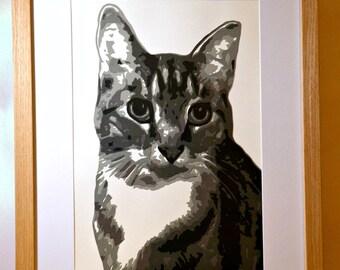 Layered Papercut Portraits, Couple Portraits, Baby Portraits, Children Portraits, Pet Portraits, A5 Portrait,Papercut Portrait,Greyscale