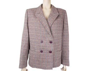 Vintage Peroche France Womens Wool Blazer Jacket Double Breasted Check Tweed (M)