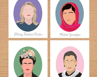 Feminist Prints, Set of Four, Hillary Clinton, Frida Kahlo, Malala Yousafzai and Ruth Bader Ginsburg