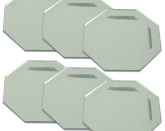 2 Inch Glass Octagon Mirrors - Set of 6 Mirrors