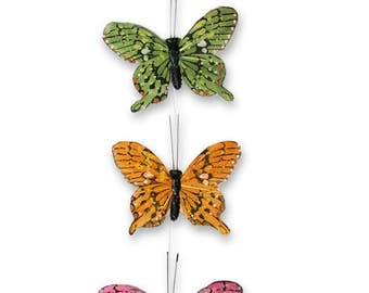 Feather Wings Butterfly Garland - 9  Butterflies Attached to Clear Garland String