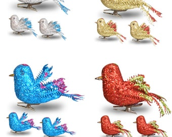Craft Birds - Set of 12 Clip-On Glitter Birds - Package Includes 3 Red, 3 Blue, 3 Gold and 3 Silver - Artificial Birds