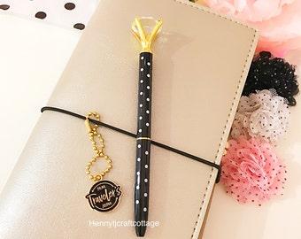 Large Diamond Top Ballpoint Pen : BLACK Polka Dots Metal - BLACK Ink Rhinestone Crystal Gem Pen | School Office Planner Desk AccessorY