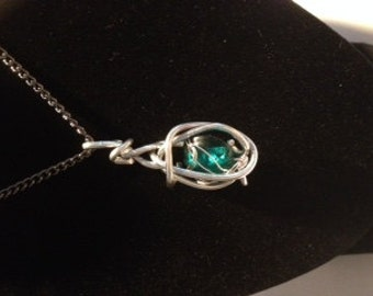 Wire Necklace with Green Stone