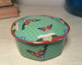 Vintage Takahashi Cloisonne Porcelain Trinket Box Green with Lid 1980s