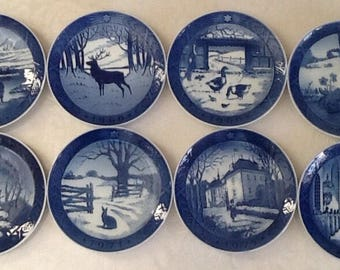 Royal Copenhagen Decorative Plates Made in Denmark Blue and White China Christmas Plates