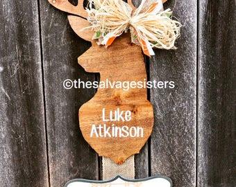 Hospital Door Hanger, Hunting theme nursery, buck door hanger, Deer Door Hanger, nursery decor, Birth Announcement, buck