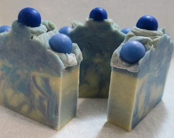 Blueberry Swirl / Artisan Soap, Handmade Cold Process Soap with Cocoa Butter and Coconut Oil, Great Lather and Moisture