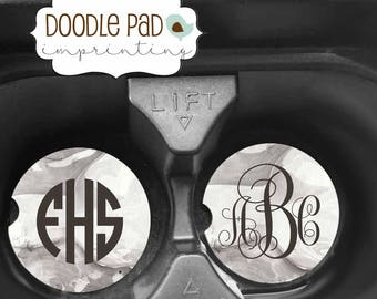 "Personalized Car Coaster, ""Marble"" Car Coasters, Monogrammed Coasters"