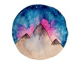 Mountain Tops At Night Watercolour Print