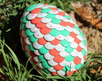 Coral and Teal Speckled Egg