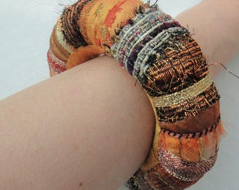 Orange and Bronze Statement Textile Bangle