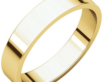 14K Yellow Gold 4mm Flat Wedding Band for Women & Men Stackable ring in size 4 to 16
