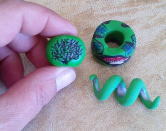 Detash. Set of 3 dread beads. Clay dreadlock beads. Hair beads. Dread schmuck.