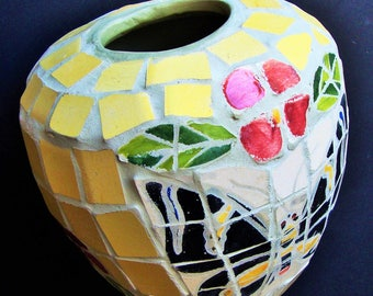 BUTTERFLY PLANTER Flower Pot Ceramic Mosiac Tile Art Yellow Black Pink Green Indoor Outdoor Yard Patio Hand Painted Decorative Tiles Vintage