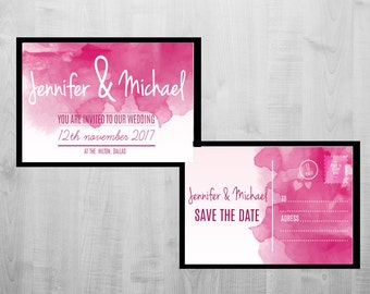 Notecard Style Wedding Save the Date, Double sided printable custom pink save the dates