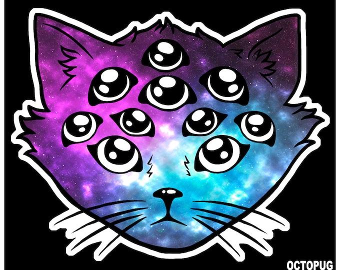 Multi-Eyed Alien Kitty - Sticker, Magnet, or Decal