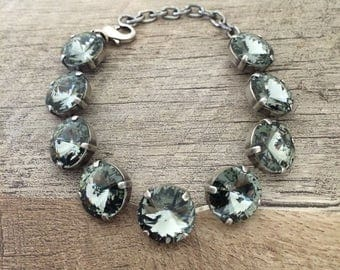 Swarovski Stormy Grey 14mm Rivoli Statement Bracelet