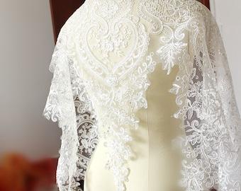 Mesh lace border print wedding dress fabric