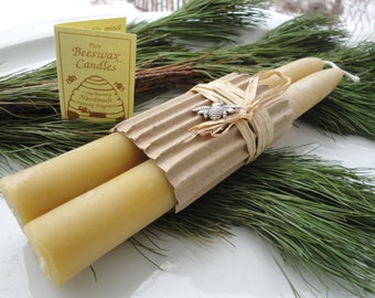 """Beeswax Taper Candles 