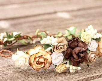 Floral Crown Earth Tone Head Wreath Beige Flower Crown Brown Wedding Cream Bridal Hair Rustic Wedding Headpiece Woodland Hair Wreath White