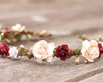 Spring Flower Crown Wine - Peach Wedding Head Wreath Crown -Blush Wedding Hair Crown Gold -  Burgundy Bridal Floral Halo - Flower Girl Crown