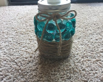 Beaded mason jar soap dispenser