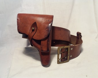 Vintage 1940's Brown Leather Holster and Belt - Walther PP /PPK / Pistol