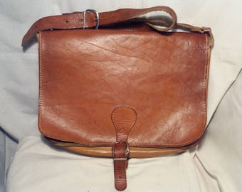 Vintage Brown Leather Postbag.Made in SWEDEN