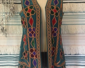 Vintage 60s Pashtun Embroidered Blue Cotton Velvet woodstock Hendrix Style Afghan Vest