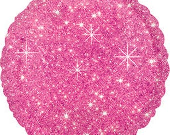 Hot Pink Faux Sparkle Mylar Balloon/Pink Razzle Dazzle Sparkle Balloon/Sparkling Pink Mylar Balloon
