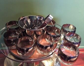 Mid Century Roly Poly Rock Glasses / Dorothy Thorpe Barware /Silver Ombre / Metallic Glaze Barware / Thorpe Silver Glassware