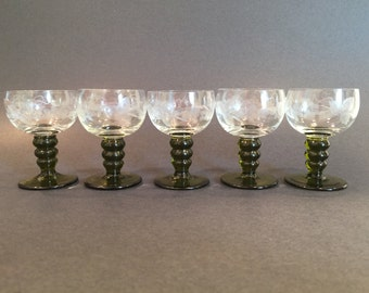 Vintage Set of Five Handmade Bubble-Stem Etched Austrian Römer (Roemer) Wine Glasses from Vienna Germany