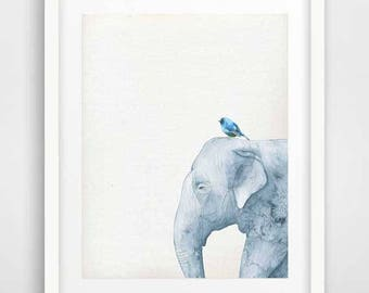 Elephant print, peekaboo animals, safari nursery, watercolor elephant, blue bird art, boys room wall art, kids large poster, blue elephant