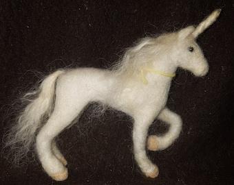 OOAK Needle Felted Small White Unicorn